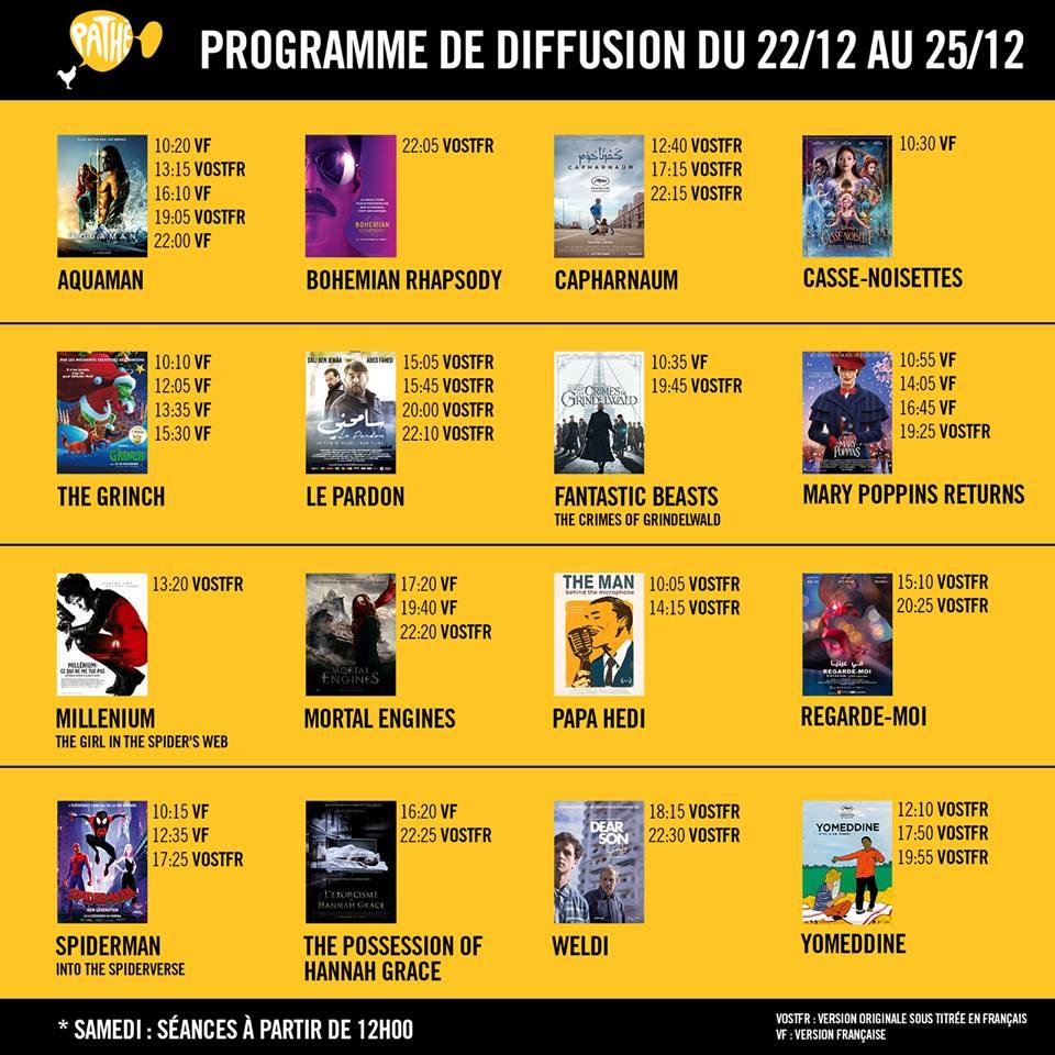 Programme du Cinéma Pathé Tunis City du 9 au 9 décembre 9 et