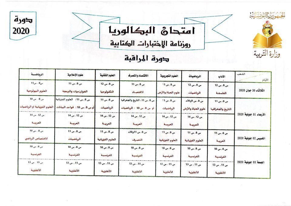 Tunisie   Bac 2020 : Calendrier des épreuves de la session